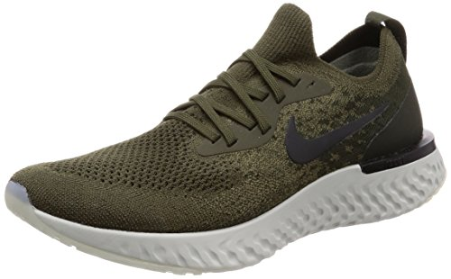 Nike Mens Epic React Flyknit Running Trainers AQ0067 Sneakers Shoes (UK 7.5 US 8.5 EU 42, Cargo Khaki Black 300)