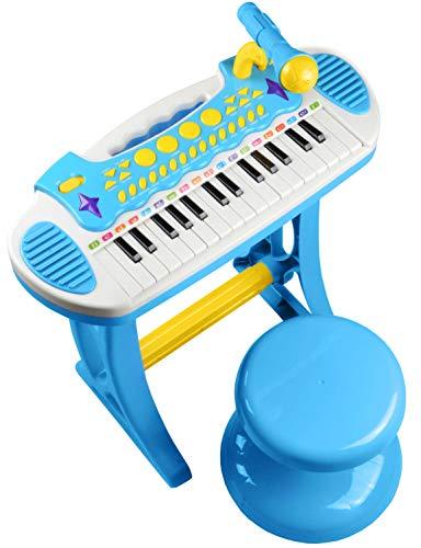Best For Kids Kinder Piano Musikinstrument Keyboard Spielzeug Klavier Kinderpiano, Hocker und Mikrofon