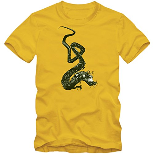 Japanischer-Drache T-Shirt | Dragon | Ryu | Tattoo-Art |Herren | Tatsu, Farbe:Gelb (Gold L190);Größe:XXL