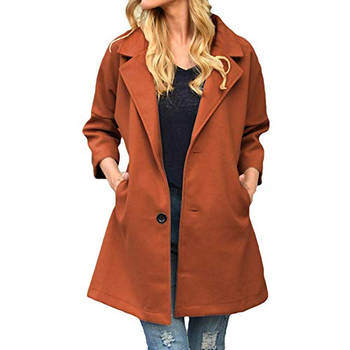 OutTop Women Overcoat Fall Winter Trendy Breasted Lapel Wool Blend Solid Casual Duffle Trench Coat Long Jacket Outwear (Brown, L)