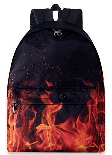 Cool Travel Backpack Back to School Shoulder Book Bags Plain Trippy Hippie Red Black Fire Flame Big Large Backpacking Rucksacks For Boys Mens Outdoor Sports Gym Motorcycle Gymnastics