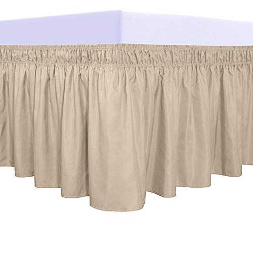 PureFit Wrap Around Ruffled Bed Skirt with Adjustable Elastic Belt - 14 Inch Drop Easy to Put On, Wrinkle Free Bedskirt Dust Ruffles, Bed Frame Cover for Twin, Twin XL and Full Size Beds, Beige