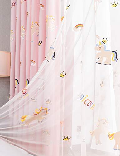 Lactraum - Tende per cameretta Bambini, Motivo Unicorno con Arcobaleno, Corona, Viola Coprente, Voile mit Ösen, 300 x 245 cm
