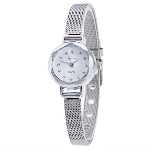 Shinericed Women Analog Quartz Watches, Womens Classic Stainless Steel Mesh Band Wrist Watch (Silver)