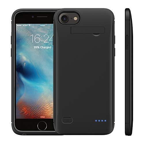 WELUV Akkuhülle F.iPhone 6 6s 7 8 SE 2020 ladehülle 4000mAh mit Ständer Batterie Case Ultra Dünn Akku hülle ladehuelle Handyhülle Schutzhülle Backup Powerbank Schwarz Geschenk