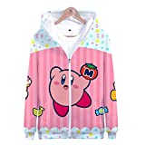 Synona Kirby Hoodie Zip-up Unisex 3D Printed Game Theme Kirby Face Chubby Cut...