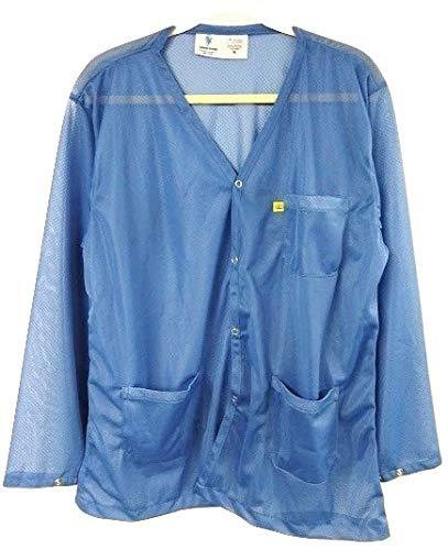 StaticTek Full Sleeve V Neck ESD Jacket | Anti-Static Snap Cuff Lab Coat | Certified Level 3 Static Shielding | Lt Wt | High ESD Protection | 2X-Large | Lt Blue | TT_JKV8826SPLB
