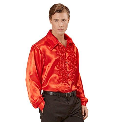 NET TOYS Années 70 Chemise A Volants Froufrous Chemise en Satin Homme Rouge Satin Chemise Hommes Rétro Chemise Disco Costume pour Homme Déguisement de Carnaval M à L / 48 à 54