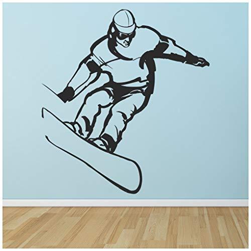 azutura Snowboard Sprung Wandtattoo Extremsport Wand Sticker Jungen Schlafzimmer Haus Dekor verfügbar in 5 Größen und 25 Farben Klein Erdbeere Rot