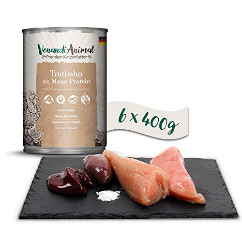 Venandi Animal Premium Nassfutter für Katzen, Truthahn als Monoprotein, 6 x 400 g, getreidefrei und naturbelassen, 2.4 kg
