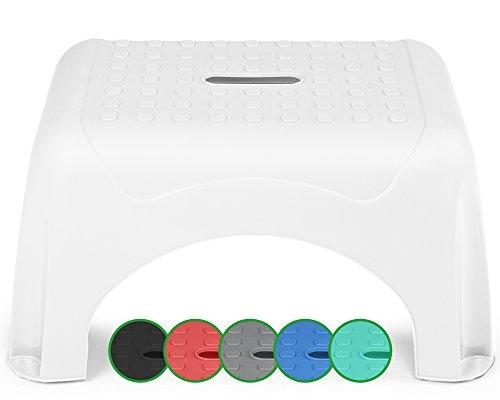 Ondis24 Tritthocker Sitzhocker Waschbeckenhocker für Kleine Step Stool sehr sicherer Stand mit bis zu 150 kg belastbar (Weiß)