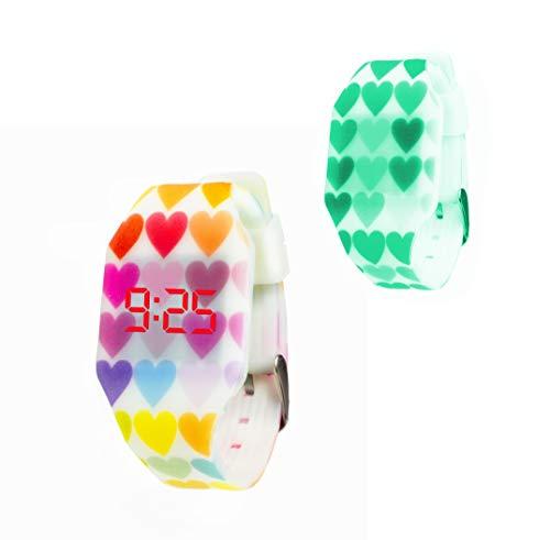 Orologio digitale a LED KIDDUS per bambini, ragazze, adulti. Cinturino comodo in morbido silicone. Batteria giapponese lunga durata. Facilità di lettura e apprendimento dell'ora.
