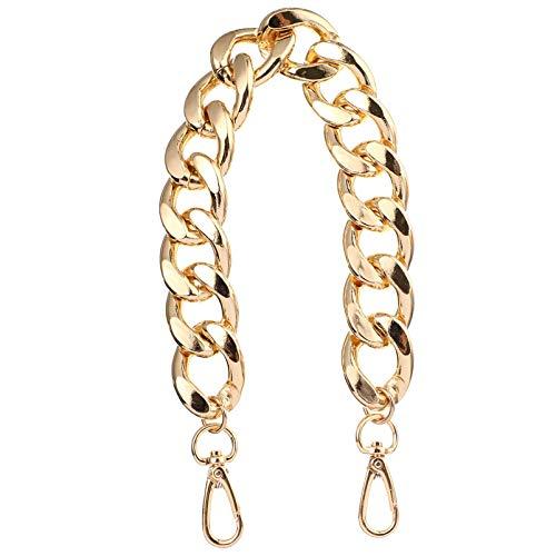 SOIMISS Bolso bandolera de 40 cm de ancho, dorado, con asa de cadena, de repuesto, correa para bolso Fai-da-Te Tote que hace cable de cadena de 27 mm con hebilla de metal