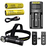 Combo: Nitecore HC35 Rechargeable LED Headlamp -2700Lm w/NL2150HPi & NL2140 Batteries +Eco-Sensa USB Charging Cord w/UMS2 Dual-Slot Superb Charger & TUP Pocket Light w/color options
