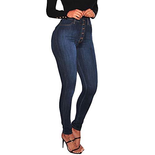Vectry Jeans Damen Slim Fit Skinny Fit Jeans Jogger Push Up Ankle Straight Leg Mit LöChern Stretch Denim Relaxed Hose Aufnäher Hosen, Hohe Taille Knopf Bleistifthosen Jeanshosen(Schwarz,M)