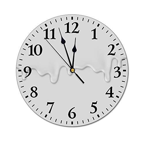 DKISEE - Reloj de pared con ilustración realista sobre el mismo color, reloj de pared, no hace tictac, silencioso, decorativo, para sala de estar, dormitorio, cocina, 25,4 cm de diámetro