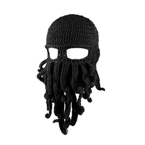 Fenical Neuheit handgemachte lustige Octopus Hut Tintenfisch gestrickte Kopf Maske Mützen häkeln Cap Unisex Geschenk für Bühnenshow (schwarz)