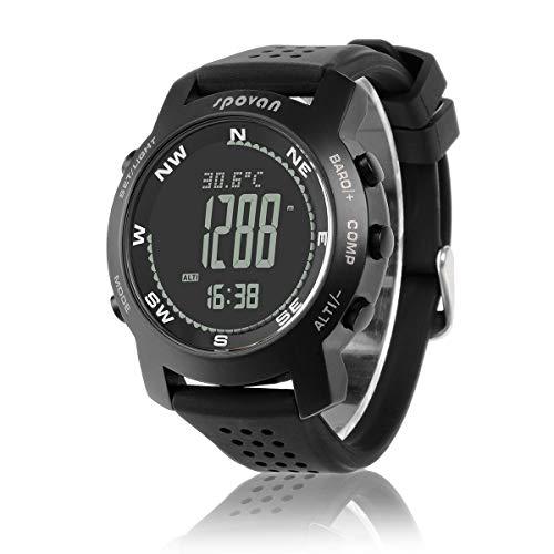 ZMH Digitaler Höhenmesser, Barometer, Kompass, Wettervorhersage, Chronograph, Sportuhr für Herren