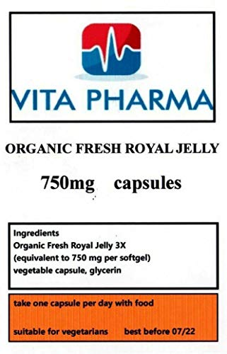 Organic Fresh Royal Jelly (HIGH Strength) 750MG 60 Capsules, 2 Months Supply, VITA PHARMA, Produced in The UK, Vegetarian Suitable