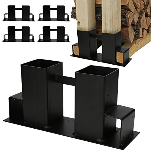 wolketon Holzstapelhilfe,stabile Holz Stapelhilfe,Einfach zu installieren Brennholz Stapelhilfe,Holzstapelhalter,Kaminholz,Gestell Holz (4 Stück schwarz)