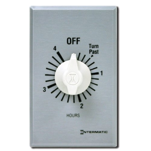 Intermatic FF4H 4-Hour Spring Loaded Wall Timer, Brushed Metal Finish