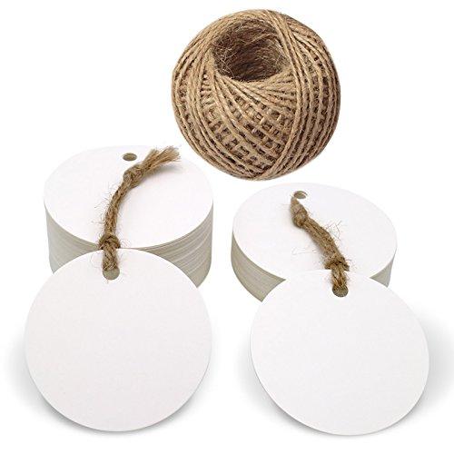 100 pcs Etiquetas Redondas Etiquetas Papel Kraft 5,5 cm Etiquetas de Regalo Blancas con Cuerda de Yute para Artesanales Precio Boda Bricolaje