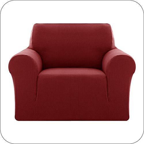 UMI by Amazon Jacquard Sofabezug Sofaüberzug Stretch Sesselhusse Sofahusse Couchbezug Wohnzimmer 1-Sitzer Weinrot