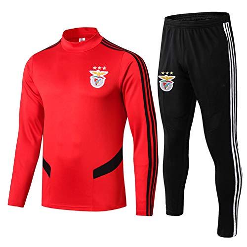DDZY 2019-20 Benfica Fußball-Trainingsanzug, Herren Herbst/Winter Anzug Langarm-Pullover,Rot,S