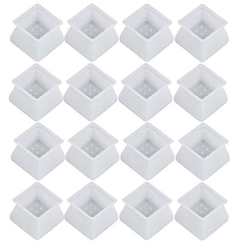 VILLCASE - Fundas de silicona para muebles, 32 unidades, para patas de sillas, para evitar arañazos y ruidos sin dejar marcas (cuadrado), color blanco