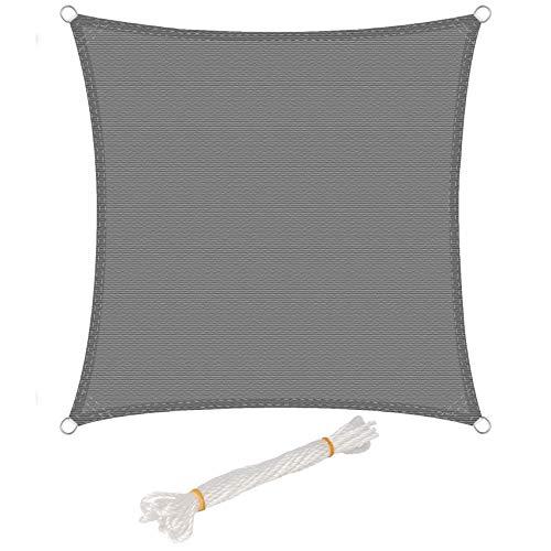 WOLTU Sonnensegel Quadrat 4x4m Grau atmungsaktiv Sonnenschutz HDPE Windschutz mit UV Schutz für Garten Terrasse Camping