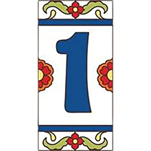 "3"" x 6"" Ceramic Tile Address House Number Talavera White #1 ONE"