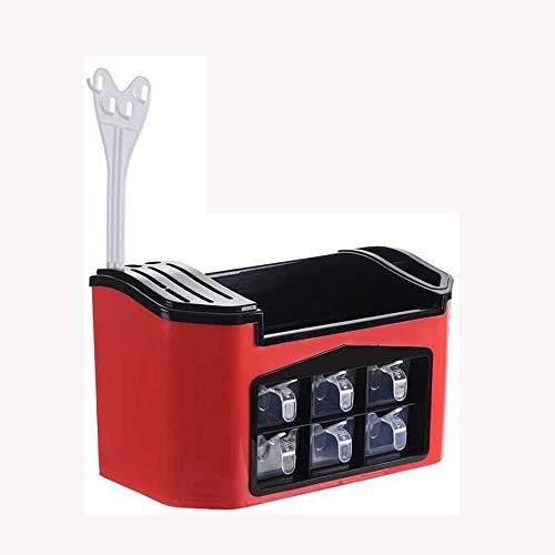 Zuoao Spice rack multifunctional kitchen countertop storage rack, used for seasoning tableware knife holder soy sauce bottle, tableware holder with seasoning box, tray knife holder,Red
