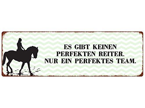 Interluxe METALLSCHILD Türschild ES GIBT KEINEN PERFEKTEN Reiter Reiten Pferd Hobby
