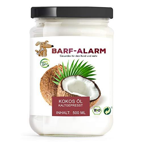 barf-alarm 100% Bio Kokosöl für Hunde 500ml – Kokosnussöl Kokosfett Hund – Bio Qualität– Kaltgepresst nativ – Kokos Öl flüssig – Welpen, Adulte, Senioren & Sporthunde