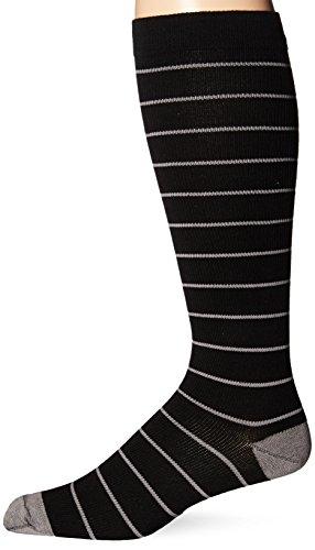 Dr. Scholl's Men's Fashion Compression Stripe 1 Pack Sock, Black, 10-12