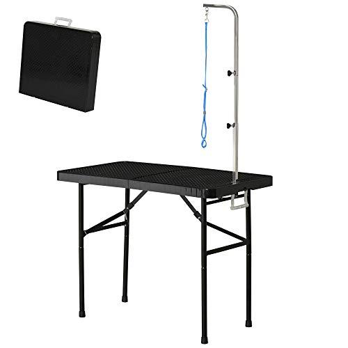 Pawhut Trimmtisch Tierpflegetisch Schertisch Pflegetisch für Hunde Katzen klappbar Stahl Schwarz 97 x 55 x 76 cm