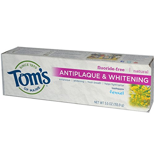 Tom's of Maine Natural Fluoride-Free Antiplaque & Whitening Toothpaste, Fennel 5.50 oz ( Pack of 36)