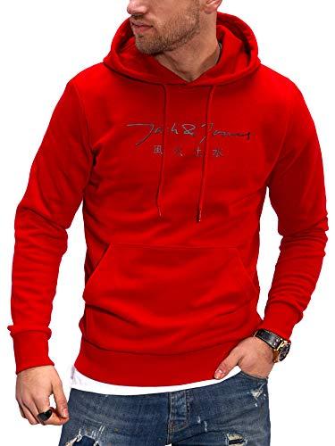 JACK & JONES Herren Hoodie Kapuzenpullover mit Print Sweatshirt Hoody Pullover (L, Tango Red)