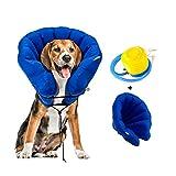 Hengu Collar Inflable de Recuperación de Perros Gatos Mascotas [Versión Mejorada], Cuello Blando Ajustable para Evita que la Mascota Lame Tocando Heridas & Promueve la Recuperación (Con un Inflador)