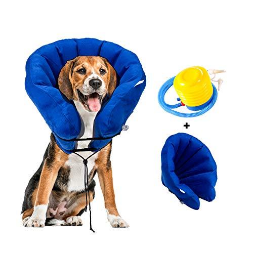 Hengu Aufblasbarer Schutzkragen Halskrausen Leckschutz [Aktualisierte Version] für Hunde Katzen Haustier, Weicher Elisabethanischer Kragen für Postoperativen Wiederherstellung (Mit einem Inflator)