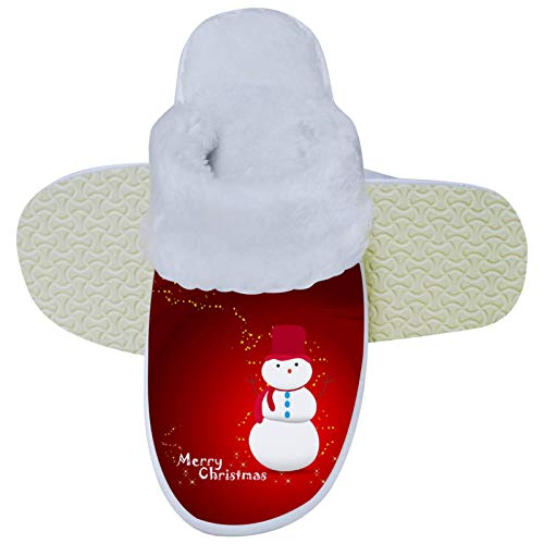 Snowman with Bling Star Winter Slippers Soft Slipper Non-Slip on House Slippers Indoor Outdoor Warm Shoes Home Shoes for Women Mens