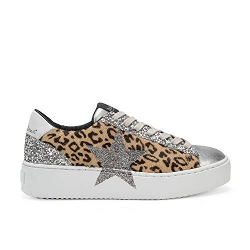 Cosmopolitan Étoile Leopard - Sneakers en Cuir Effet Cheval et Impression Tachetée - Dessin Micro pailleté à la Main - 41 - Léopard