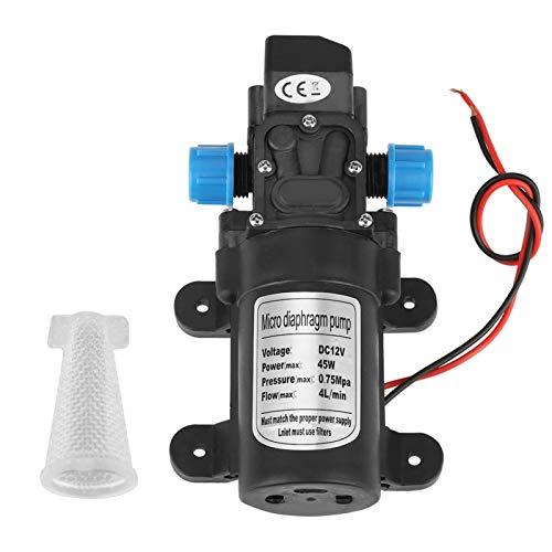 Membranwasserpumpe, selbstansaugende Wasserpumpe DC 12V 45W Mikromembranwasser selbstansaugende Pumpe Geräuscharm 4L/min Durchfluss Schwarz mit Filter 12V Wasserpumpe