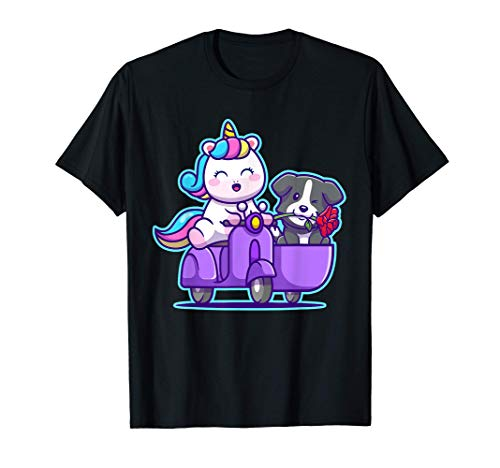 Divertido lindo unicornio y Border Collie en un triciclo Camiseta