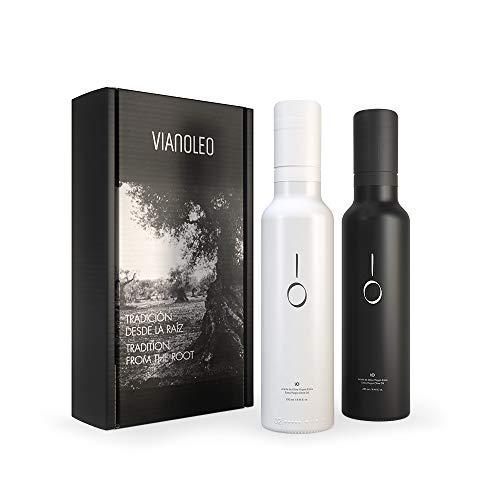 iO Aceite de Oliva Virgen Extra Enriquecido. Aceite de Oliva Español Gourmet. Estuche regalo con 2 unidades. Pack de 2 x 250 ml (Black y White)