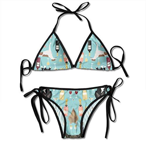 Conjunto de Bikini de Mujer Traje de Baño de Dos Piezas de Galgos y Vino con Trajes de Baño de Cabestro con Vendaje