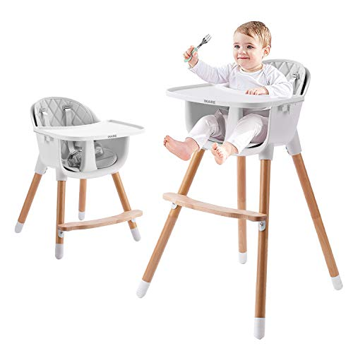 IKARE Wooden Natural Baby High Chair W/Removable Tray & Safety Harness, 3-in-1 Infant Highchair/Booster/Kid Chair | Grows with Your Child | Adjustable Legs | Modern Wood Design (Gray)