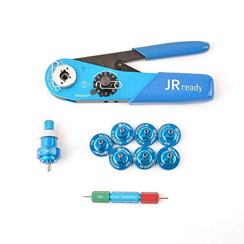 JRready ST2060 M22520 2 01 Indent Crimper Kit YJQ W1A AFM8 615717 Aviation Crimp Tool and 7 Positioner and G125 Gauge for Solid Barrel Contact of Miniature Connector in Electronic Systems 20 32awg