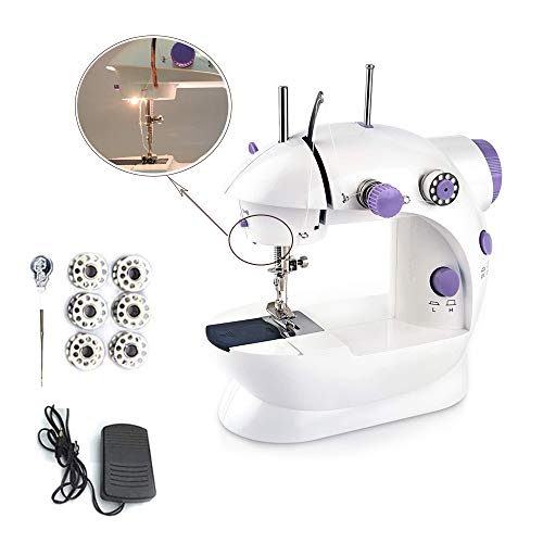 3T6B Mini Sewing Machine, Portable Electric 2-Speed Adjustable Hand-Sewing Machine with Foot Controller and Light, Suitable for Beginner Craft Home Travel Home Hand DIY