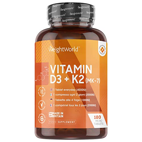 Vitamin D3 4000IU + K2 MK7-180 High Strength Tablets (6 Month Supply), Boosts Calcium for Bone Health, Max Release, Immune Support, Skin Support, Keto + Vegetarian Tablet Supplement for Men & Women